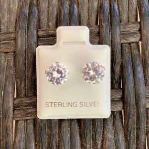 Sterling Silver 7mm Cubic Zirconia Studs Earrings